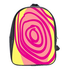 Doodle Shapes Large Line Circle Pink Red Yellow School Bags(large)  by Alisyart