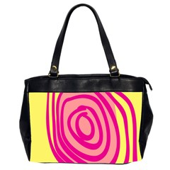 Doodle Shapes Large Line Circle Pink Red Yellow Office Handbags (2 Sides)  by Alisyart