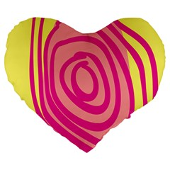 Doodle Shapes Large Line Circle Pink Red Yellow Large 19  Premium Heart Shape Cushions by Alisyart