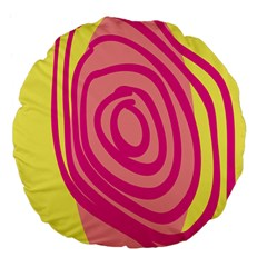 Doodle Shapes Large Line Circle Pink Red Yellow Large 18  Premium Flano Round Cushions by Alisyart