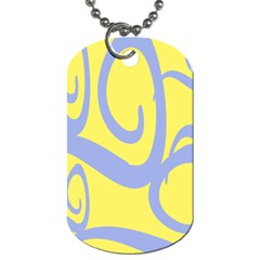 Doodle Shapes Large Waves Grey Yellow Chevron Dog Tag (two Sides) by Alisyart