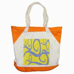 Doodle Shapes Large Waves Grey Yellow Chevron Accent Tote Bag by Alisyart