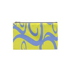 Doodle Shapes Large Waves Grey Yellow Chevron Cosmetic Bag (small)  by Alisyart