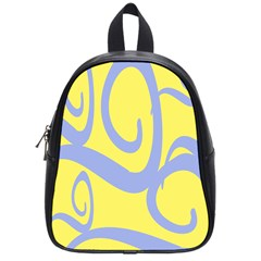 Doodle Shapes Large Waves Grey Yellow Chevron School Bags (small)  by Alisyart