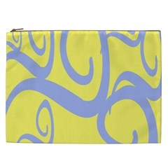 Doodle Shapes Large Waves Grey Yellow Chevron Cosmetic Bag (xxl)  by Alisyart