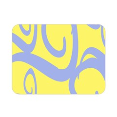 Doodle Shapes Large Waves Grey Yellow Chevron Double Sided Flano Blanket (mini)  by Alisyart