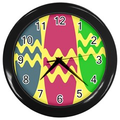 Easter Egg Shapes Large Wave Green Pink Blue Yellow Wall Clocks (black) by Alisyart