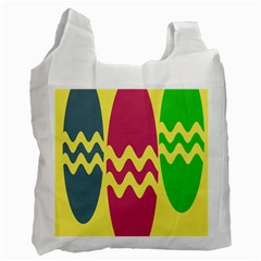 Easter Egg Shapes Large Wave Green Pink Blue Yellow Recycle Bag (one Side) by Alisyart
