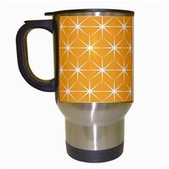 Yellow Stars Light White Orange Travel Mugs (white) by Alisyart