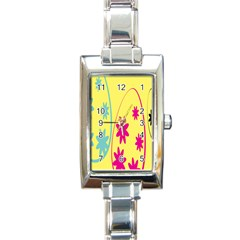 Easter Egg Shapes Large Wave Green Pink Blue Yellow Black Floral Star Rectangle Italian Charm Watch by Alisyart