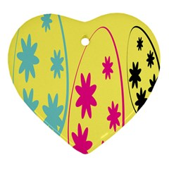 Easter Egg Shapes Large Wave Green Pink Blue Yellow Black Floral Star Ornament (heart) by Alisyart