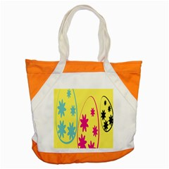Easter Egg Shapes Large Wave Green Pink Blue Yellow Black Floral Star Accent Tote Bag by Alisyart