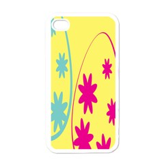 Easter Egg Shapes Large Wave Green Pink Blue Yellow Black Floral Star Apple Iphone 4 Case (white) by Alisyart