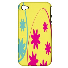Easter Egg Shapes Large Wave Green Pink Blue Yellow Black Floral Star Apple Iphone 4/4s Hardshell Case (pc+silicone) by Alisyart