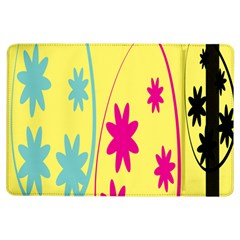 Easter Egg Shapes Large Wave Green Pink Blue Yellow Black Floral Star Ipad Air Flip by Alisyart