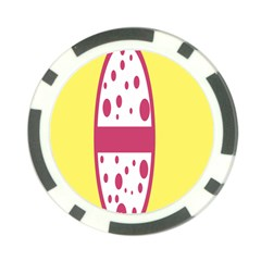 Easter Egg Shapes Large Wave Pink Yellow Circle Dalmation Poker Chip Card Guard (10 Pack) by Alisyart