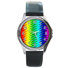 Comic Strip Dots Circle Rainbow Round Metal Watch by Alisyart