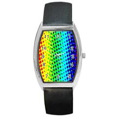 Comic Strip Dots Circle Rainbow Barrel Style Metal Watch by Alisyart
