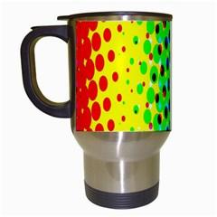 Comic Strip Dots Circle Rainbow Travel Mugs (white) by Alisyart