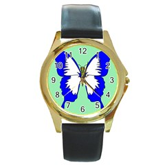 Draw Butterfly Green Blue White Fly Animals Round Gold Metal Watch by Alisyart
