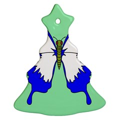 Draw Butterfly Green Blue White Fly Animals Ornament (christmas Tree)  by Alisyart