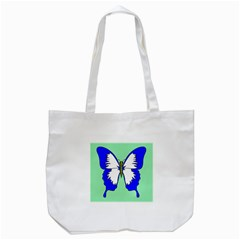 Draw Butterfly Green Blue White Fly Animals Tote Bag (white) by Alisyart