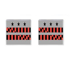 Falg Sign Star Line Black Red Cufflinks (square) by Alisyart