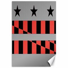 Falg Sign Star Line Black Red Canvas 24  X 36  by Alisyart