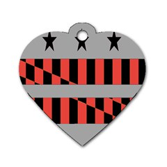 Falg Sign Star Line Black Red Dog Tag Heart (one Side) by Alisyart