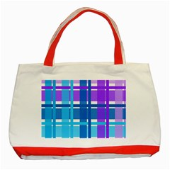 Gingham Pattern Blue Purple Shades Sheath Classic Tote Bag (red) by Alisyart