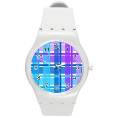 Gingham Pattern Blue Purple Shades Sheath Round Plastic Sport Watch (m) by Alisyart