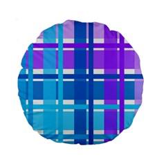 Gingham Pattern Blue Purple Shades Sheath Standard 15  Premium Round Cushions by Alisyart
