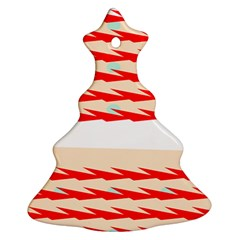 Chevron Wave Triangle Red White Circle Blue Christmas Tree Ornament (two Sides) by Alisyart