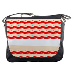 Chevron Wave Triangle Red White Circle Blue Messenger Bags by Alisyart