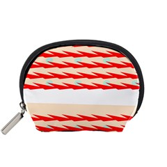 Chevron Wave Triangle Red White Circle Blue Accessory Pouches (small)  by Alisyart