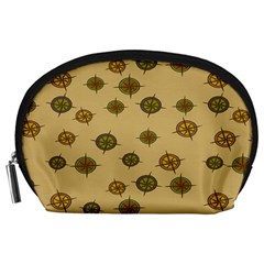 Compass Circle Brown Accessory Pouches (large)  by Alisyart