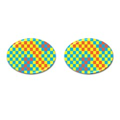 Optical Illusions Plaid Line Yellow Blue Red Flag Cufflinks (Oval)