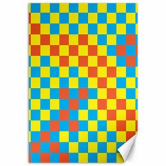 Optical Illusions Plaid Line Yellow Blue Red Flag Canvas 12  X 18   by Alisyart
