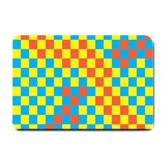 Optical Illusions Plaid Line Yellow Blue Red Flag Small Doormat  by Alisyart