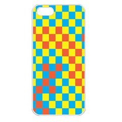 Optical Illusions Plaid Line Yellow Blue Red Flag Apple Iphone 5 Seamless Case (white) by Alisyart