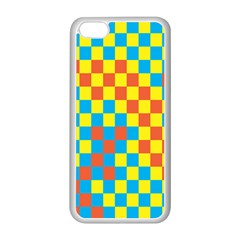Optical Illusions Plaid Line Yellow Blue Red Flag Apple Iphone 5c Seamless Case (white) by Alisyart