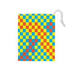 Optical Illusions Plaid Line Yellow Blue Red Flag Drawstring Pouches (medium)  by Alisyart