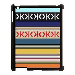 Original Code Rainbow Color Chevron Wave Line Apple Ipad 3/4 Case (black) by Alisyart