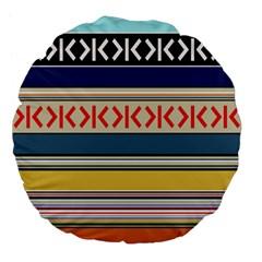 Original Code Rainbow Color Chevron Wave Line Large 18  Premium Flano Round Cushions by Alisyart