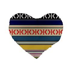 Original Code Rainbow Color Chevron Wave Line Standard 16  Premium Flano Heart Shape Cushions by Alisyart