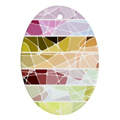 Geometric Mosaic Line Rainbow Oval Ornament (two Sides) by Alisyart