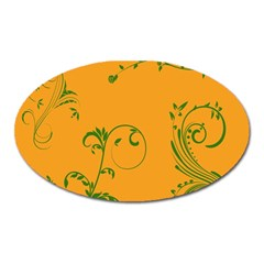 Nature Leaf Green Orange Oval Magnet by Alisyart