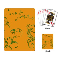 Nature Leaf Green Orange Playing Card by Alisyart