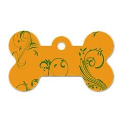 Nature Leaf Green Orange Dog Tag Bone (two Sides) by Alisyart