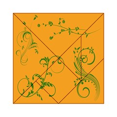 Nature Leaf Green Orange Acrylic Tangram Puzzle (6  X 6 ) by Alisyart